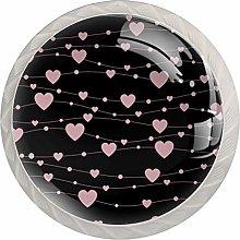 Pink Love 4 Pieces Crystal Glass Wardrobe Handles