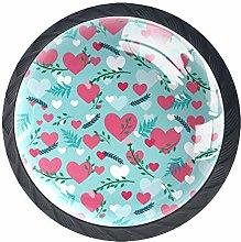 Pink Love Crystal Drawer Handles Furniture Glass