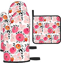 Pink Orange Modern Floral Oven Mitts and Pot