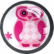 Pink Owl On The Tree Wardrobe Handles Pack of 4