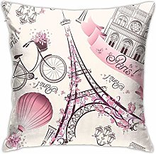 Pink Paris Eiffel Tower Throw Pillow Covers