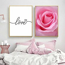 Pink Peony Flowers Canvas Painting Nordic Poster