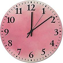 Pink Petal Rustic Wall Clock Decor, Round Silent