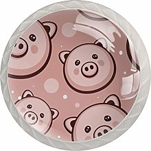 Pink Pig Head White Crystal Drawer Handles