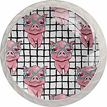 Pink Pig with Glasses Solid Kitchen Cabinet Knobs