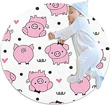 Pink Pigs Pattern Cute Love Heart, Printed Round