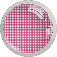 Pink Plaid Round Cabinet Knobs 4pcs Knobs for