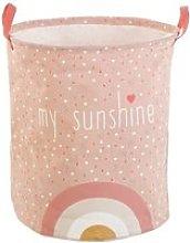Pink Print Cotton Storage Basket