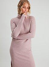 Pink Roll Neck Jumper Dress - 8