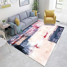 Pink Room Rug Abstract ink pattern living room
