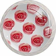 Pink Rose 4PCS Drawer Knobs,Cabinet Knobs,Drawer