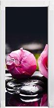 Pink Rose Blossom Black Background Door Sticker