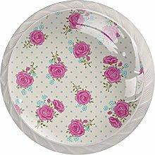 Pink Rose Pattern Drawer Knobs Pulls Cabinet