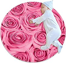 Pink Rose, Printed Round Rug for Kids Family