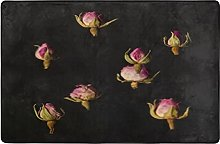 Pink Roses On Black Soft Shaggy Area Rug,Ultra