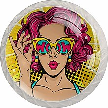 Pink Short Hair Woman White Crystal Drawer Handles