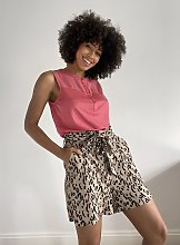 Pink Sleeveless Top With Linen - 22