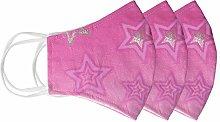 Pink Sparkle Silver Glitter Star Cloth Fabric