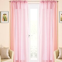 Pink Sparkle Voile Curtain Panel Slotted Top