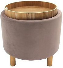 Pink Storage Stool With Wooden Tray