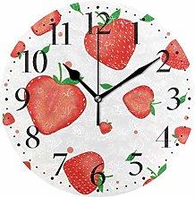 Pink Strawberry Round Wall Clock Kitchen Bedroom