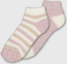 Pink & Stripe Cosy Socks 2 Pack - 4-8