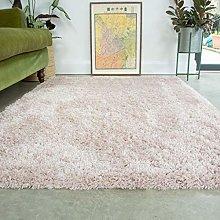 Pink Thick Shaggy Rug Blush Modern Durable Super