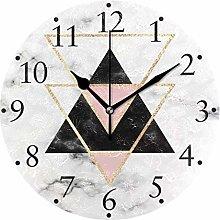Pink Triangles Geometric Marble Wall Clocks