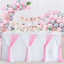 Pink Tulle Table Skirts 6ft Baby Shower Tablecloth