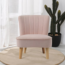 Pink Velvet Accent Dining Chair Shell Scallop Seat