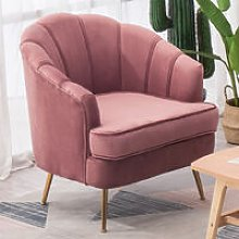 Pink Velvet Armchair Lotus Shell Back Couch Tub