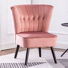 Pink Velvet Cocktail Chair With Buttons