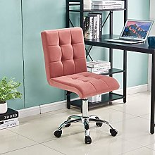 Pink Velvet Desk Chair No Arms Office Chairs for