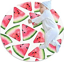 Pink watermelon, Printed Round Rug for Kids Family