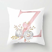 Pink White Letter Z Cushion Cover English Letter