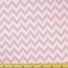 Pink/White - Printed Polycotton Fabric 6mm CHEVRON