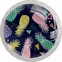 Pink Yellow Pineapple 4 Pieces Crystal Glass