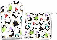 PINLLG Cute Penguin Fun Oven MittsPotholder Set