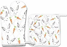PINLLG Rabbit Carrot Cute Pattern Oven