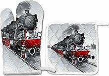 PINLLG Railway Train Retro Oven MittsPotholder