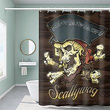 Pirate Shower Curtain with 12 Hooks, Skeleton