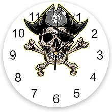 Pirate Skull Silent Non Ticking Wall Clock,