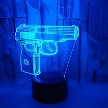 Pistol Modeling 3D Table Lamp Seven Colourful Desk