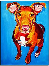 Pit Bull Chino Print Oil Painting Wall Painting
