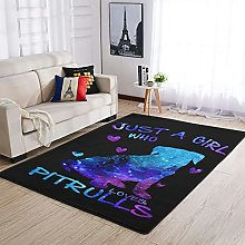 PITBULLS JUST A GIRL Area Rug Patterned Soft