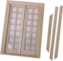 PIXNOR Dollhouse Miniature Exterior Door with 28