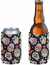 Pizding 2 Pack Slim Can Cooler,Sugar Skull Can