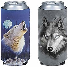 Pizding 2pcs Wolf Design Slim Can Cooler Sleeves -