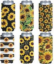 Pizding 6 Pack Durable Slim Beer Can Sleeves,