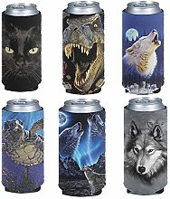 Pizding 6pcs Easy Carry Beer Can Cooler Tall